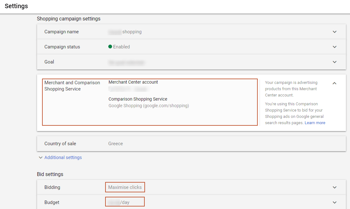 google shopping ads settings