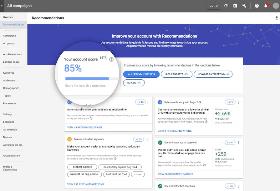 Μεγιστοποιήστε την απόδοση των Google ads με το optimization score